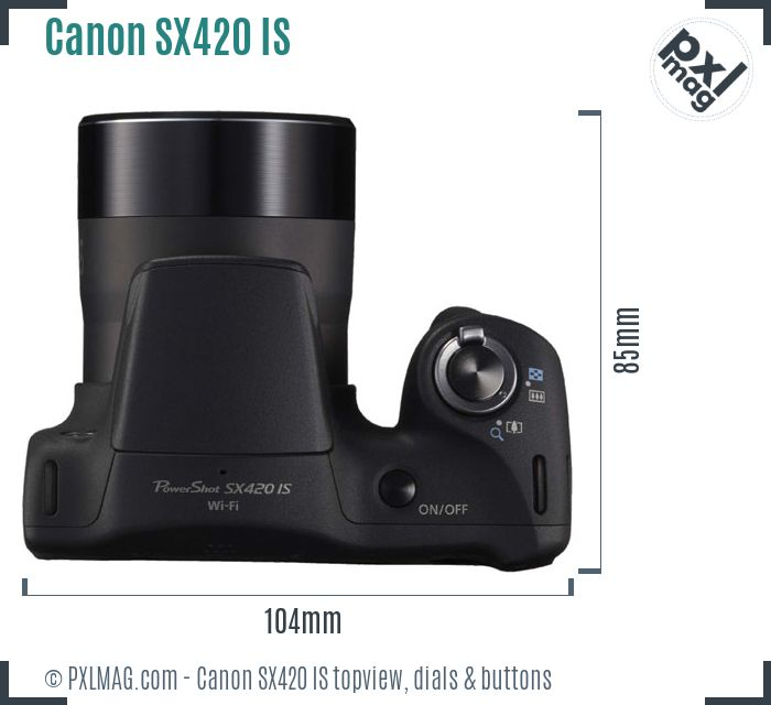 Canon PowerShot SX420 IS topview buttons dials