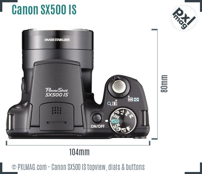 Canon PowerShot SX500 IS topview buttons dials