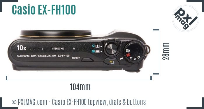 Casio Exilim EX-FH100 topview buttons dials
