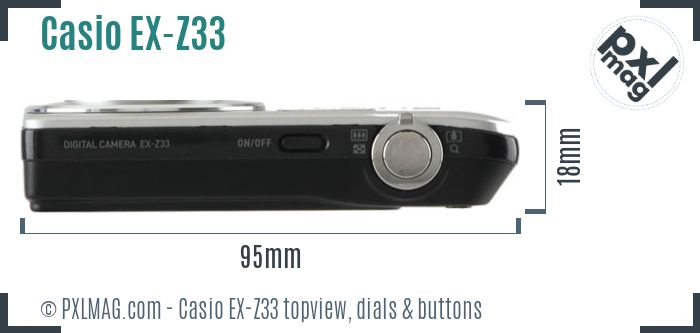 Casio Exilim EX-Z33 topview buttons dials