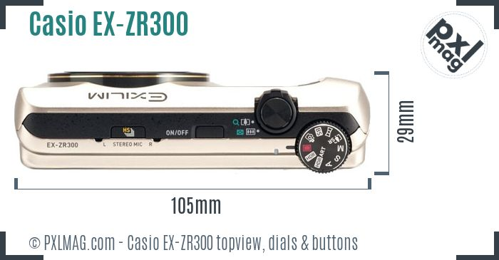 Casio Exilim EX-ZR300 topview buttons dials