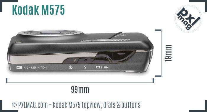 Kodak EasyShare M575 topview buttons dials