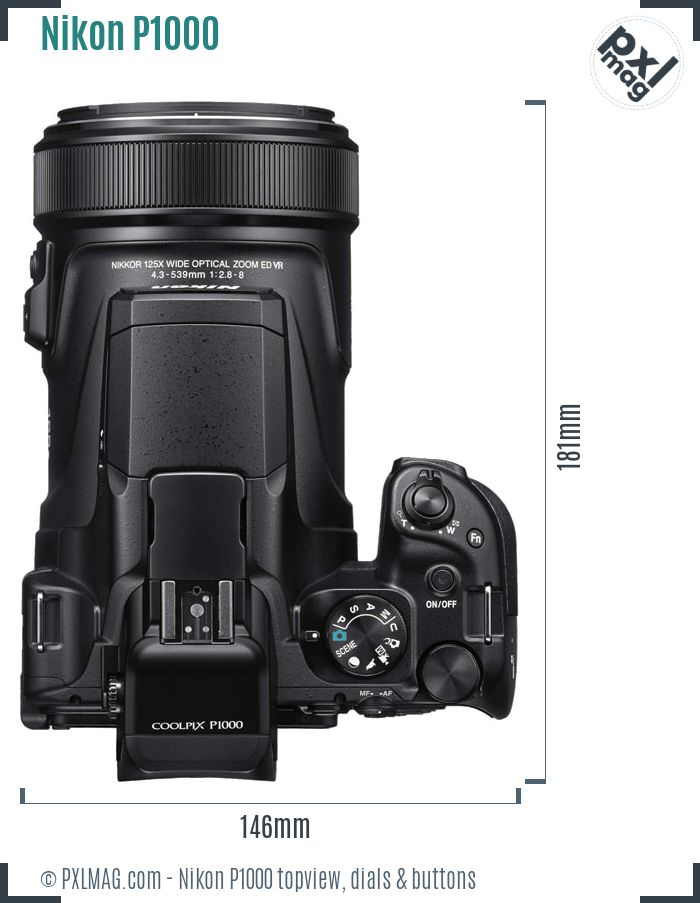 Nikon Coolpix P1000 topview buttons dials