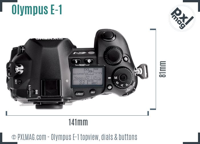 Olympus E-1 topview buttons dials