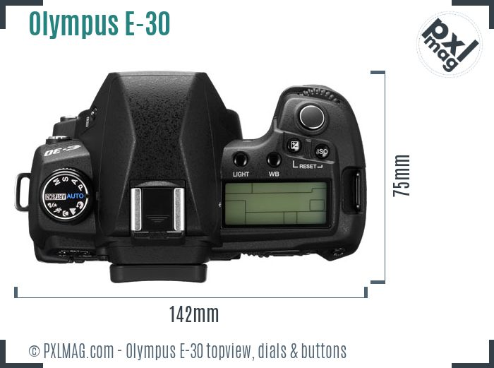 Olympus E-30 topview buttons dials