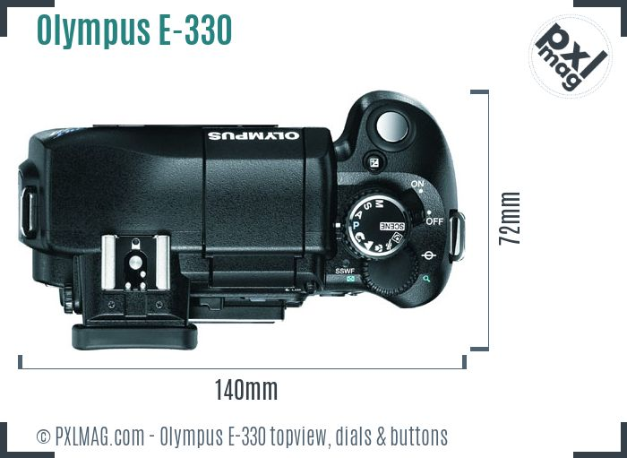 Olympus E-330 topview buttons dials