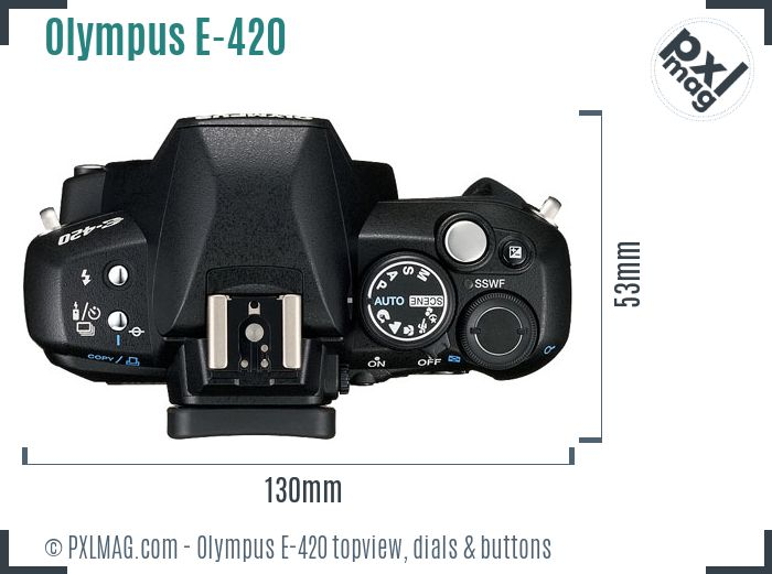 Olympus E-420 topview buttons dials