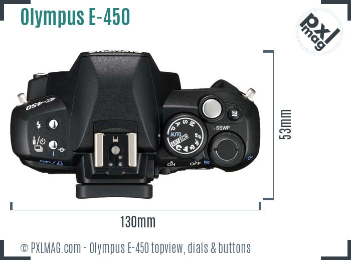 Olympus E-450 topview buttons dials