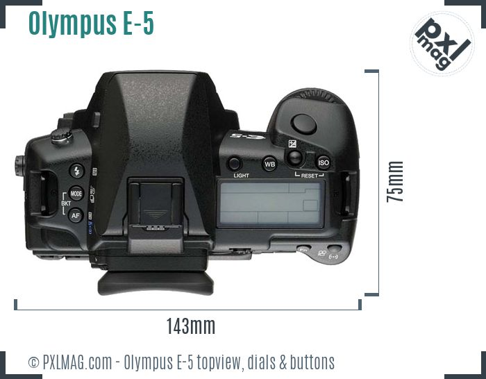 Olympus E-5 topview buttons dials
