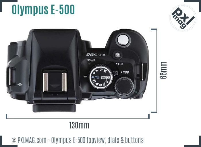Olympus E-500 topview buttons dials