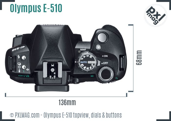 Olympus E-510 topview buttons dials