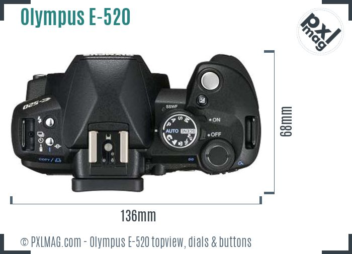 Olympus E-520 topview buttons dials
