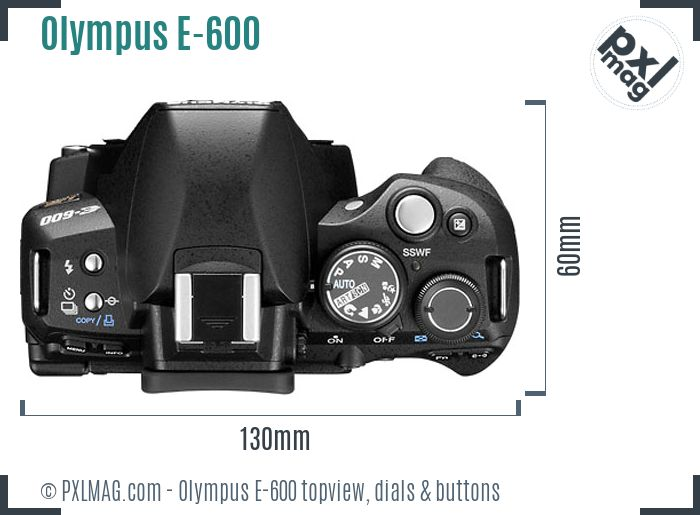 Olympus E-600 topview buttons dials