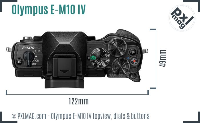 Olympus OM-D E-M10 IV topview buttons dials
