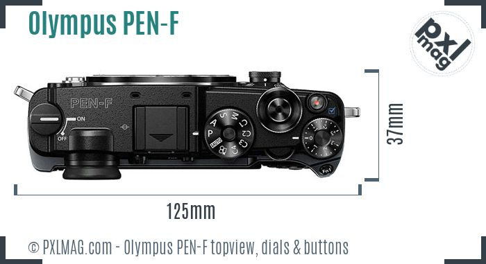 Olympus PEN-F topview buttons dials