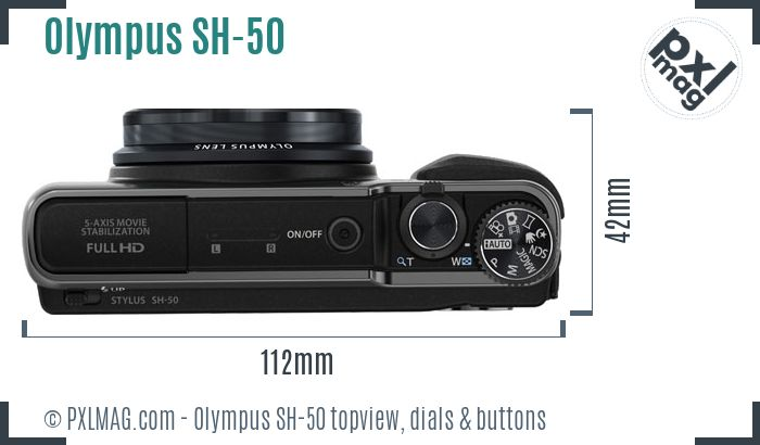 Olympus SH-50 topview buttons dials