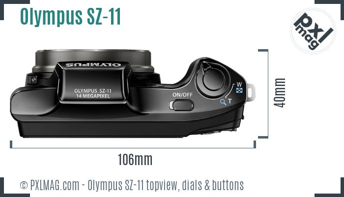 Olympus SZ-11 topview buttons dials