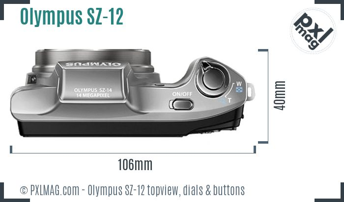 Olympus SZ-12 topview buttons dials