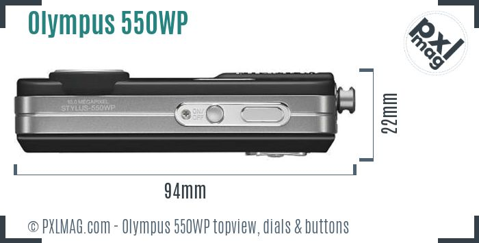 Olympus Stylus 550WP topview buttons dials