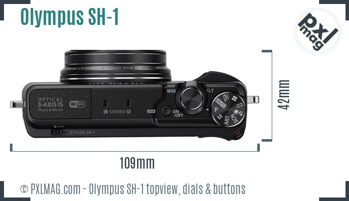 Olympus Stylus SH-1 topview buttons dials