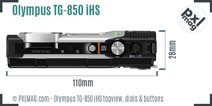 Olympus Stylus Tough TG-850 iHS topview buttons dials