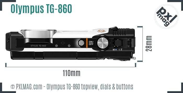 Olympus Stylus Tough TG-860 topview buttons dials