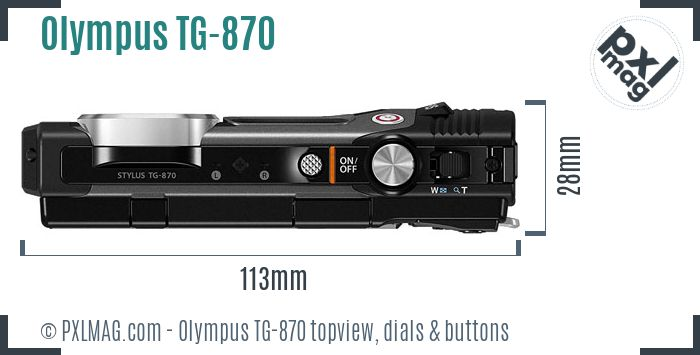 Olympus Stylus Tough TG-870 topview buttons dials