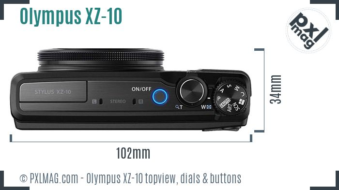 Olympus Stylus XZ-10 topview buttons dials