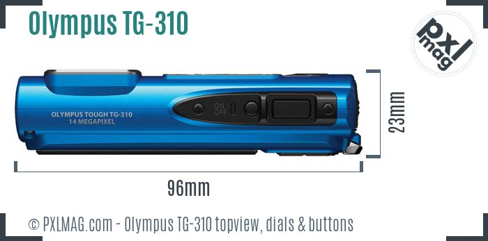 Olympus TG-310 topview buttons dials