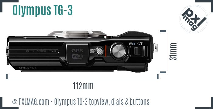 Olympus Tough TG-3 topview buttons dials