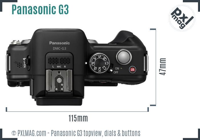 Panasonic Lumix DMC-G3 topview buttons dials