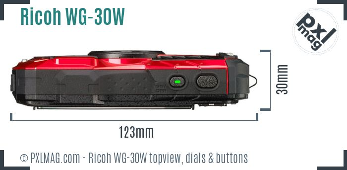 Ricoh WG-30W topview buttons dials