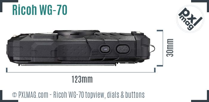 Ricoh WG-70 topview buttons dials