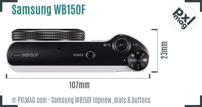Samsung WB150F topview buttons dials