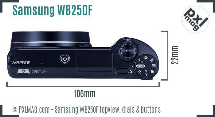Samsung WB250F topview buttons dials