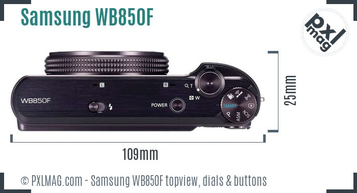 Samsung WB850F topview buttons dials